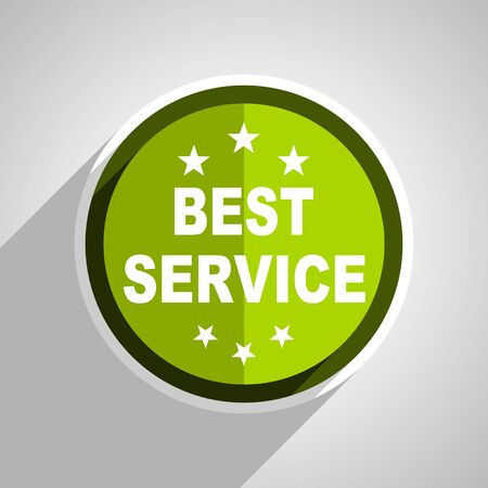 best service: best service icon, green circle flat design internet button, web and mobile app illustration