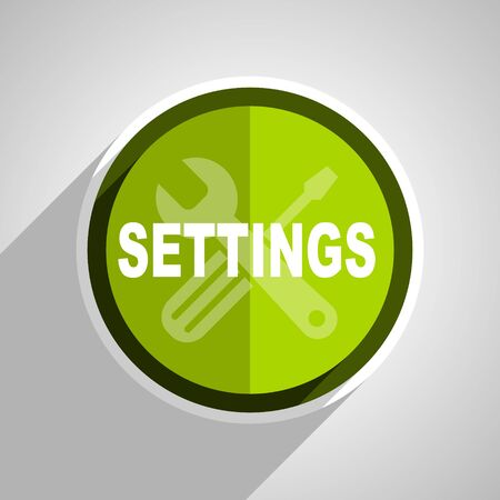 parameters: settings icon, green circle flat design internet button, web and mobile app illustration