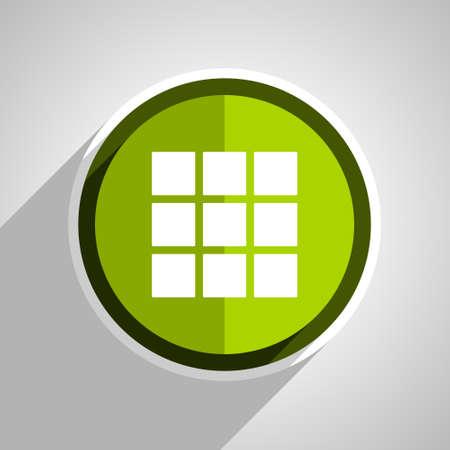 thumbnails: thumbnails grid icon, green circle flat design internet button, web and mobile app illustration