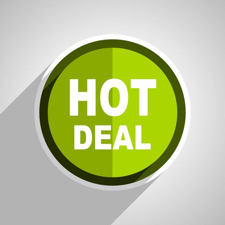 hot deal: hot deal icon, green circle flat design internet button, web and mobile app illustration