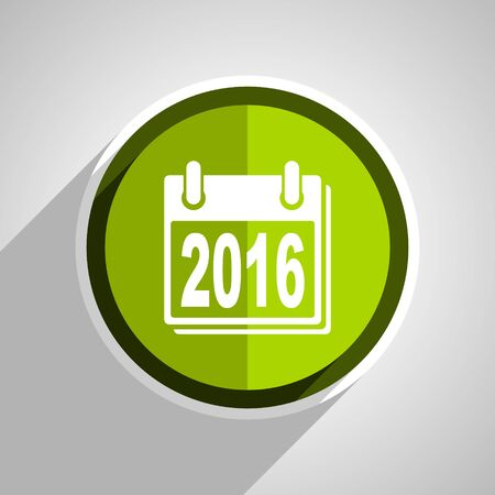 scheduler: new year 2016 icon, green circle flat design internet button, web and mobile app illustration