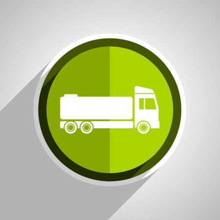 cistern: truck icon, green circle flat design internet button, web and mobile app illustration