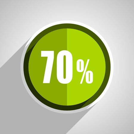 bargains: 70 percent icon, green circle flat design internet button, web and mobile app illustration