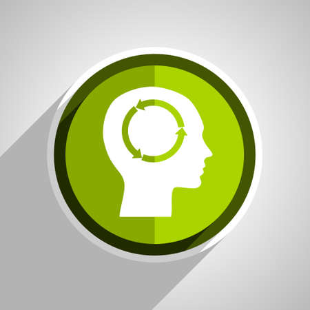 brainy: head icon, green circle flat design internet button, web and mobile app illustration Stock Photo