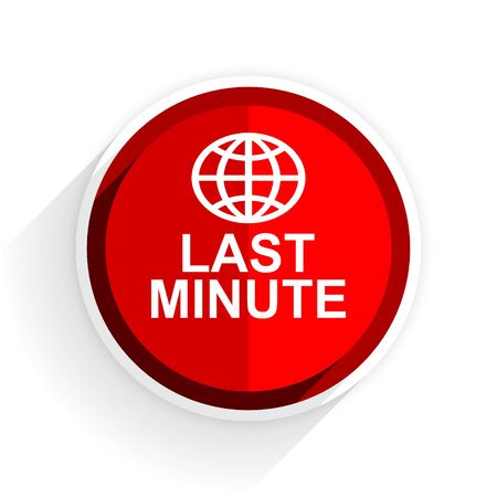 last minute: last minute icon, red circle flat design internet button, web and mobile app illustration