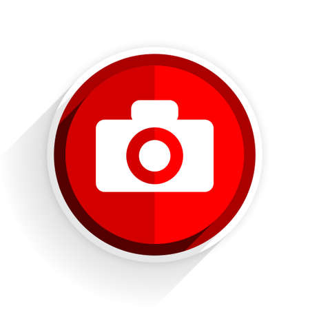 picto: camera icon, red circle flat design internet button, web and mobile app illustration