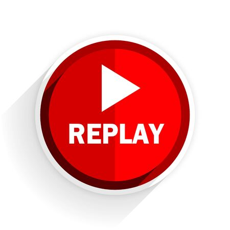 proceed: replay icon, red circle flat design internet button, web and mobile app illustration Stock Photo