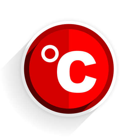 celsius: celsius icon, red circle flat design internet button, web and mobile app illustration