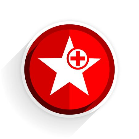 preference: star icon, red circle flat design internet button, web and mobile app illustration