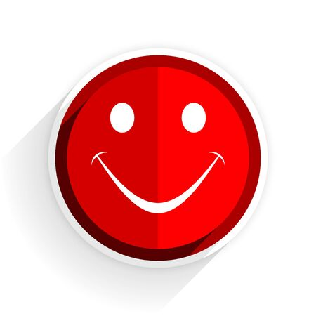 yea: smile icon, red circle flat design internet button, web and mobile app illustration