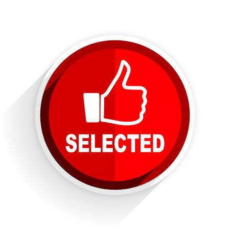 selected: selected icon, red circle flat design internet button, web and mobile app illustration