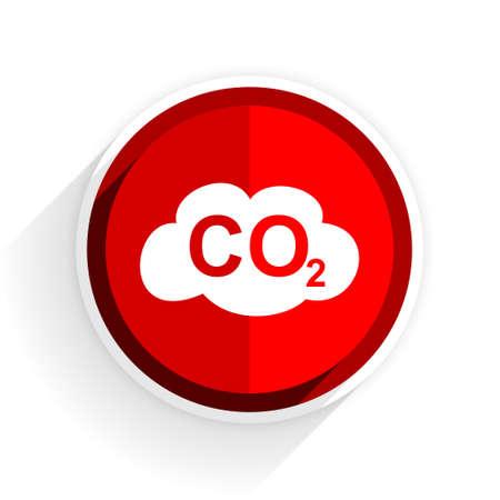 carbon emission: carbon dioxide icon, red circle flat design internet button, web and mobile app illustration