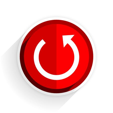rotate icon: rotate icon, red circle flat design internet button, web and mobile app illustration