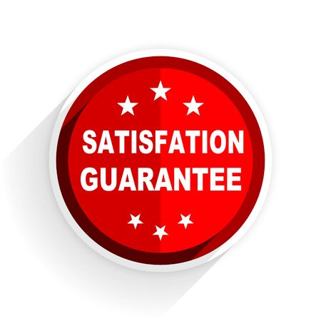 satisfaction guarantee: satisfaction guarantee icon, red circle flat design internet button, web and mobile app illustration