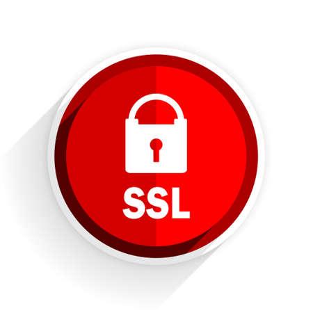 ssl: ssl icon, red circle flat design internet button, web and mobile app illustration Stock Photo