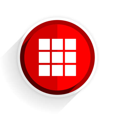 thumbnails: thumbnails grid icon, red circle flat design internet button, web and mobile app illustration Stock Photo