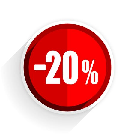bargaining: 20 percent sale retail icon, red circle flat design internet button, web and mobile app illustration