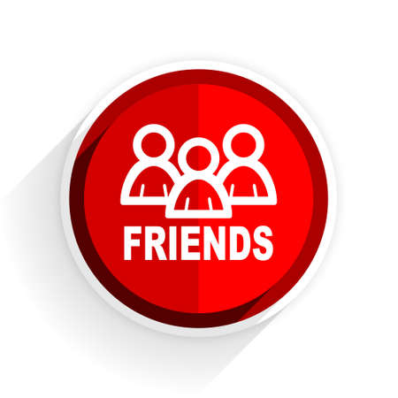 contacting: friends icon, red circle flat design internet button, web and mobile app illustration Stock Photo