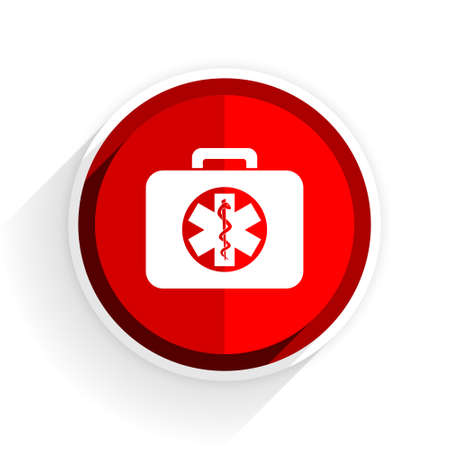 rescue circle: rescue kit icon, red circle flat design internet button, web and mobile app illustration