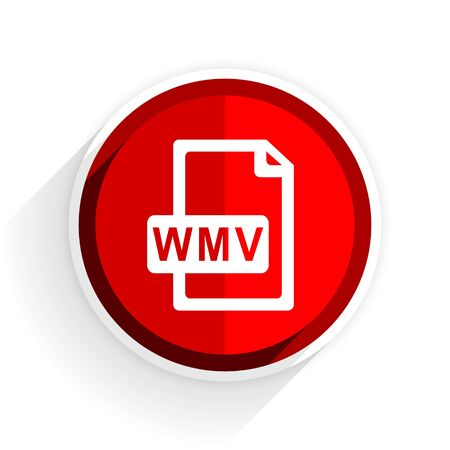 wmv: wmv file icon, red circle flat design internet button, web and mobile app illustration Stock Photo