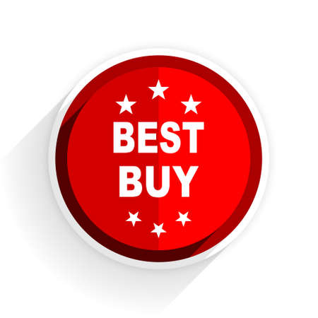 best buy: best buy icon, red circle flat design internet button, web and mobile app illustration Stock Photo