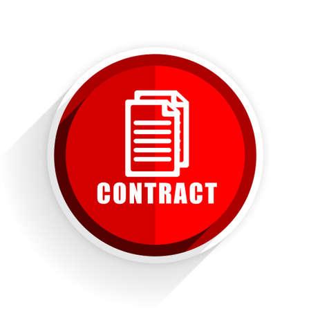 pacto: icono de contrato, círculo rojo del botón del Internet diseño plano, web e ilustración de aplicaciones móviles Foto de archivo