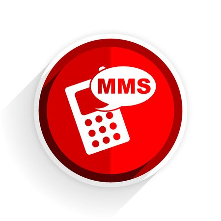 mms icon: mms icon, red circle flat design internet button, web and mobile app illustration Stock Photo