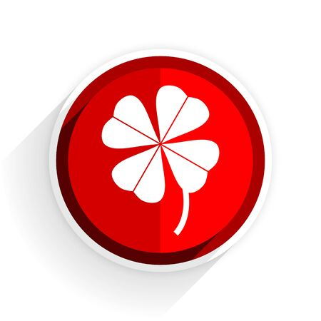 red clover: four-leaf clover icon, red circle flat design internet button, web and mobile app illustration Stock Photo