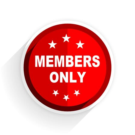 members only: members only icon, red circle flat design internet button, web and mobile app illustration