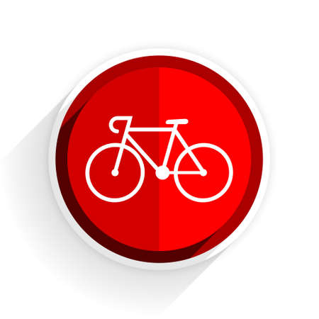 active content: bicycle icon, red circle flat design internet button, web and mobile app illustration
