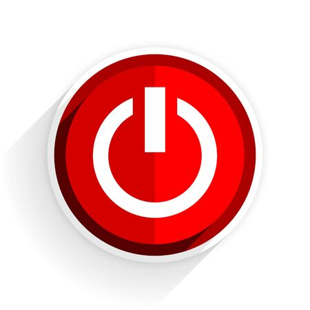 proceed: power icon, red circle flat design internet button, web and mobile app illustration