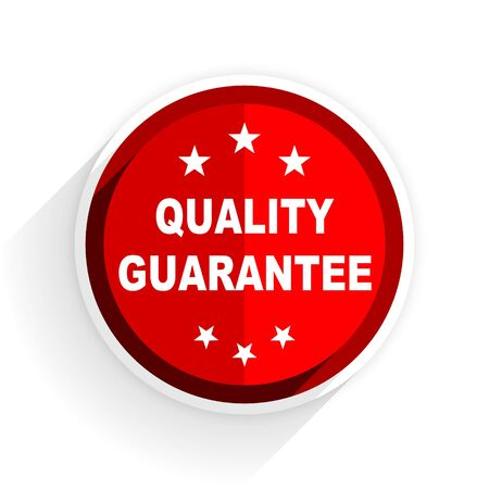quality guarantee: quality guarantee icon, red circle flat design internet button, web and mobile app illustration Stock Photo