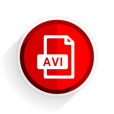 avi: avi file icon, red circle flat design internet button, web and mobile app illustration