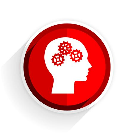 brainy: head icon, red circle flat design internet button, web and mobile app illustration