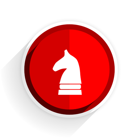 chess horse: chess horse icon, red circle flat design internet button, web and mobile app illustration