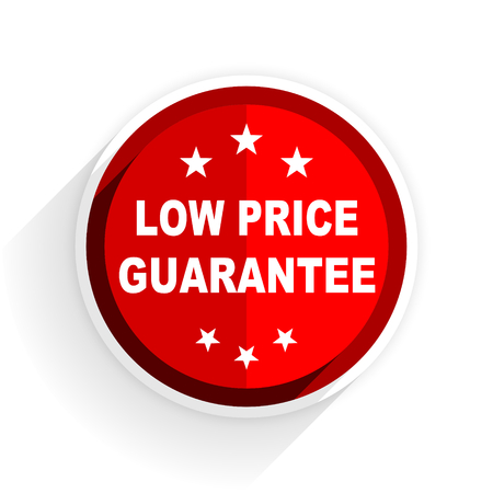 low price: low price guarantee icon, red circle flat design internet button, web and mobile app illustration