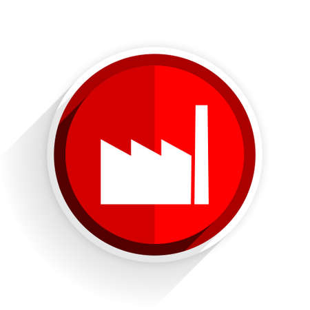 industrial complex: factory icon, red circle flat design internet button, web and mobile app illustration