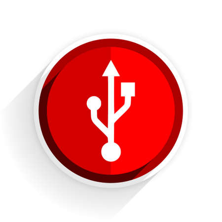 usb pendrive: usb icon, red circle flat design internet button, web and mobile app illustration
