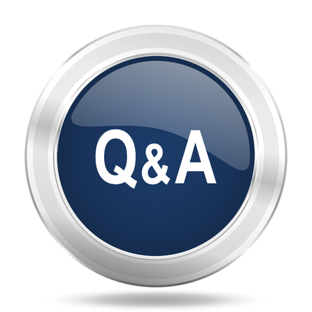 question and answer: question answer icon, dark blue round metallic internet button, web and mobile app illustration