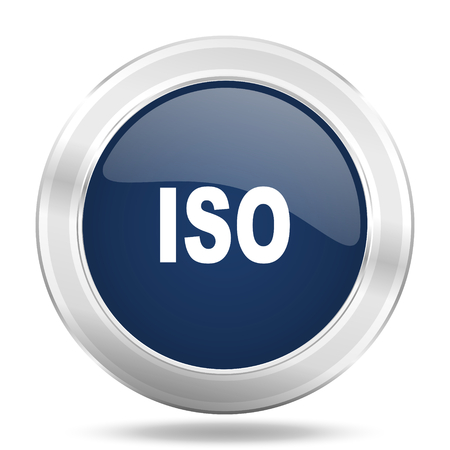 standard steel: iso icon, dark blue round metallic internet button, web and mobile app illustration