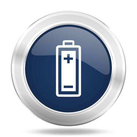 accuse: battery icon, dark blue round metallic internet button, web and mobile app illustration