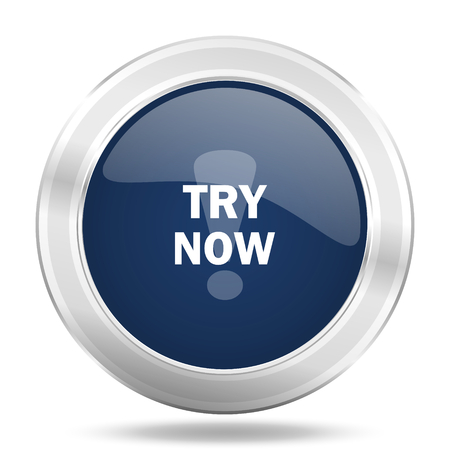 special steel: try now icon, dark blue round metallic internet button, web and mobile app illustration Stock Photo