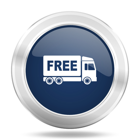 d�livrance: free delivery icon, dark blue round metallic internet button, web and mobile app illustration Banque d'images