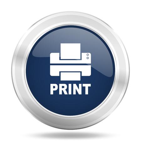 printer icon: printer icon, dark blue round metallic internet button, web and mobile app illustration