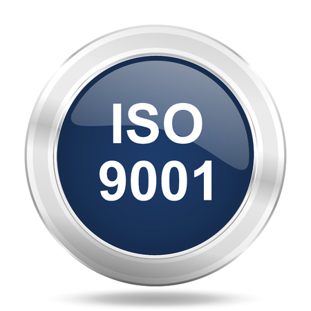 standard steel: iso 9001 icon, dark blue round metallic internet button, web and mobile app illustration