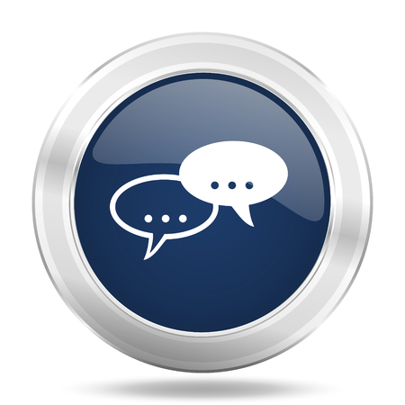 forum icon: forum icon, dark blue round metallic internet button, web and mobile app illustration