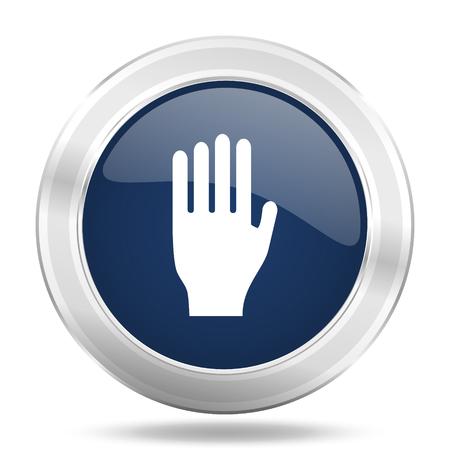coachman: stop icon, dark blue round metallic internet button, web and mobile app illustration