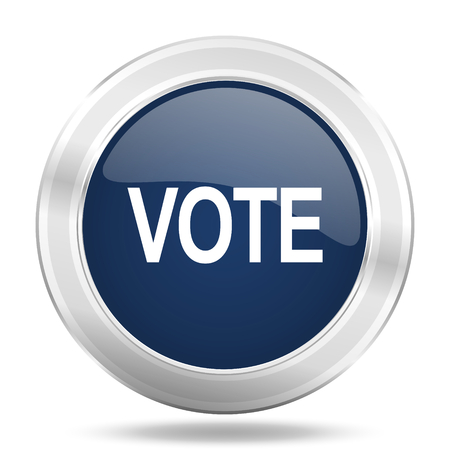 vote icon: vote icon, dark blue round metallic internet button, web and mobile app illustration