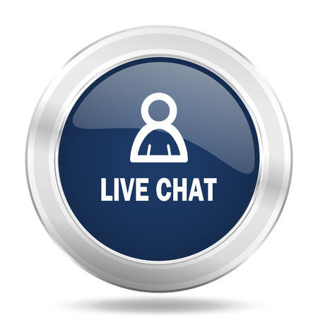 Chatter: live chat icon, dark blue round metallic internet button, web and mobile app illustration Stock Photo