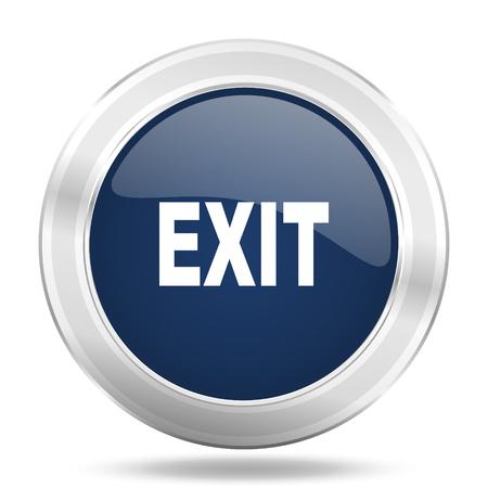 exit icon: exit icon, dark blue round metallic internet button, web and mobile app illustration Stock Photo